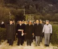 1979 - 7 Aprile Da sx il questore di Rieti Nigro il sindaco di Leonessa Giusppe Forconi Il Ministro delle Finanze Franco Malfatti il Prefetto Pietro Verga ed il Maggiore Enzo Climinti