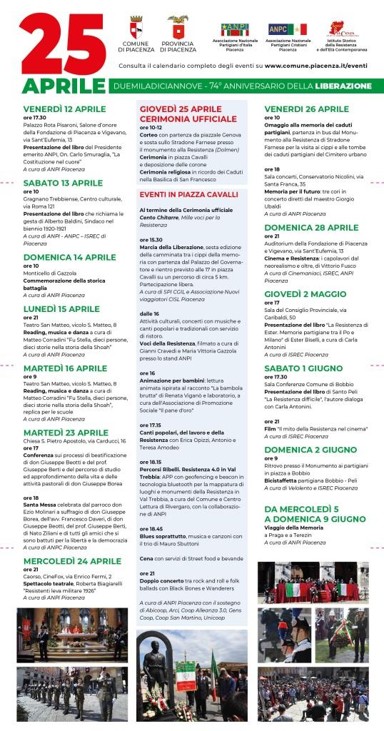 25 aprile 2019 elenco eventi Piacenza