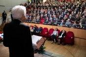 Il Presidente Sergio Mattarella al teatro Lorenzo Da Ponte,durante il suo indirizzo di saluto in occasione della cerimonia commemorativa del 74° anniversario della Liberazione. (Foto di Francesco Ammendola - Ufficio per la Stampa e la Comunicazione della Presidenza della Repubblica)